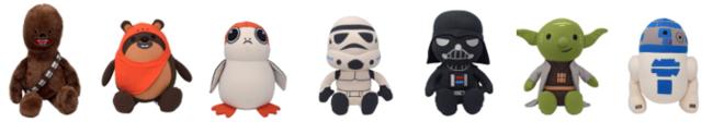 左から:Chewbacca/Ewok/Porg/Stormtrooper/DarthVader/Yoda/R2-D2