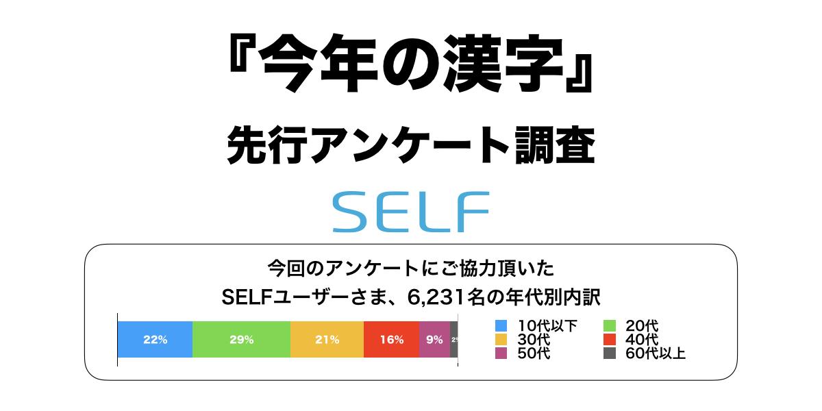 今年の漢字」先行アンケート調査、6,231名が回答。1位の漢字は…|SELF ...