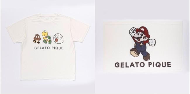 <写真左>【UNISEX】スーパーマリオ キャラクターTシャツ (2色展開) 4,840円 /<写真右>スーパーマリオ スムーズィーブランケット 5,720円