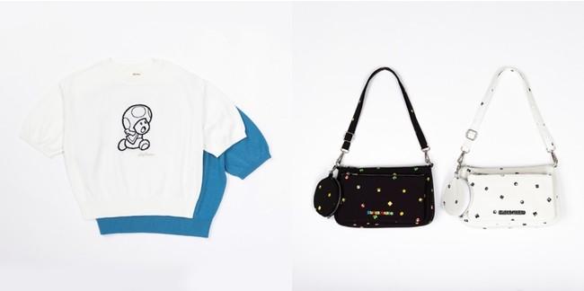 <写真左>キノピオJQニット(2色展開) 8,910円 /<写真右>スーパーマリオ総柄ポーチバッグ (2色展開) 9,900円