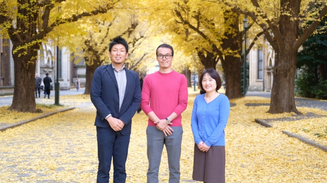 左から:東京大学 村山特任講師、オースタンス代表 菊川諒人、東京大学 菅原特任講師