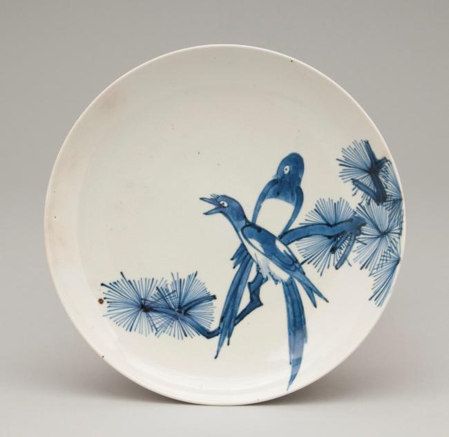 染付鵲文皿(そめつけかささぎもんさら) 1660~1690年代 肥前有田 今泉吉郎・吉博コレクション