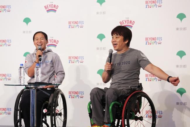 根木慎志さん(右)と瀬立モニカ選手(左)