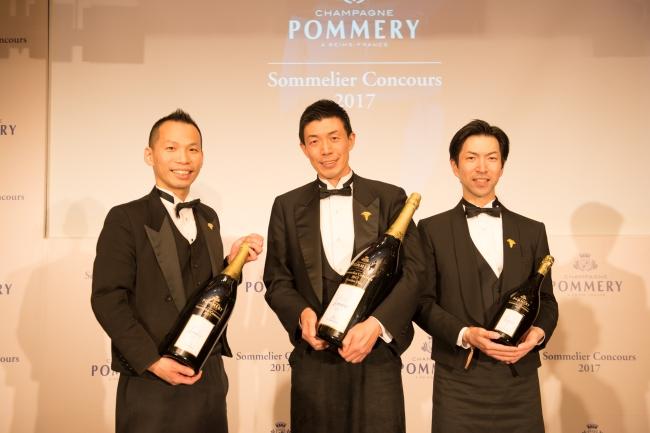 左から準優勝 瀧田氏、  優勝 野坂氏、  第3位 中西氏