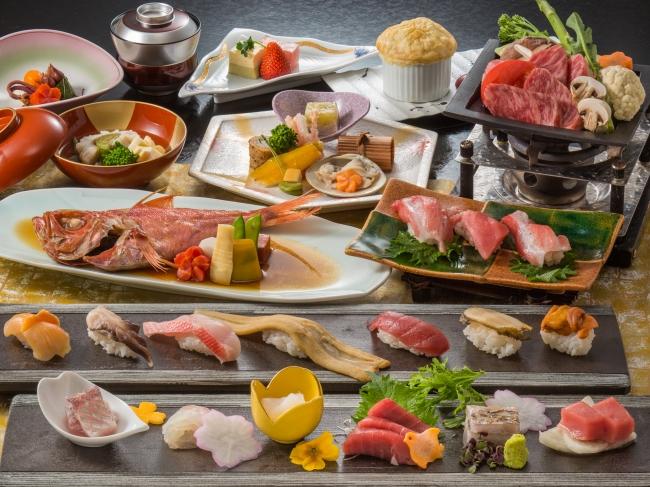 記念日などには少し贅沢なプランも。  (写真は美食・寿司会席の一例)
