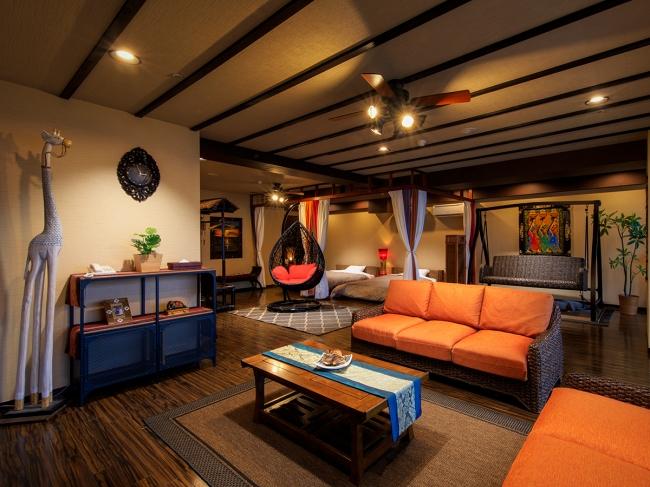 約120平米の客室4名定員という贅沢なアジアンリゾートルーム