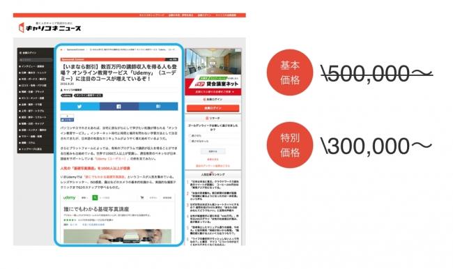 「記事広告(スタンダードプラン)」掲載箇所と特別掲載価格