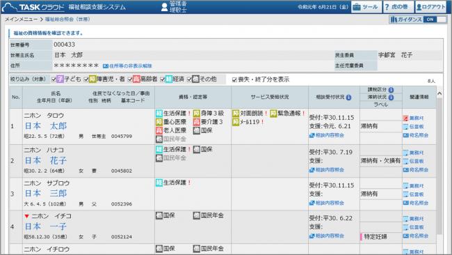 福祉相談支援システム(総合照会画面イメージ)