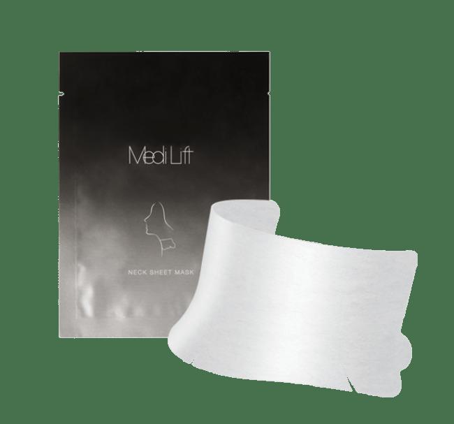 くすみがちな首もとに透明感※1を与えるシートマスク。 『メディリフト ネック』装着前に、首に巻き使用します。週に1~2回の スペシャルケアにおすすめです。 ※1乾燥によるくすみを保湿によりケアする事
