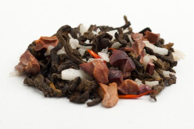 カカオココナッツプーアル:成分:有機プーアル茶、  有機カカオニブ、  有機ココナッツ小片、  香料