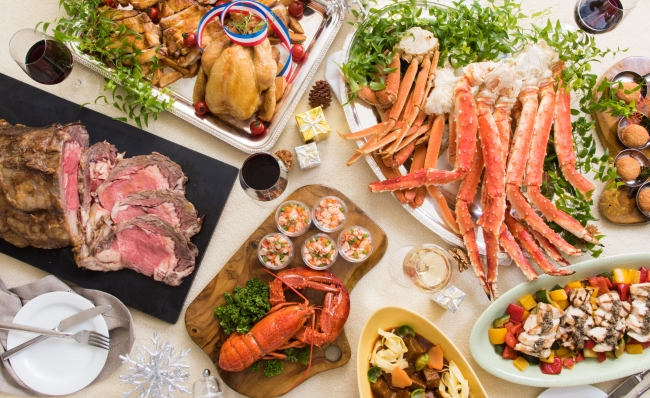 12月21日~25日は、ローストビーフ、タラバ蟹、ズワイ蟹がビュッフェに登場します