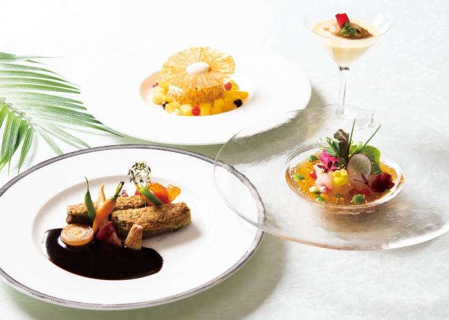 夏の食材を使用したディナーセット全4品