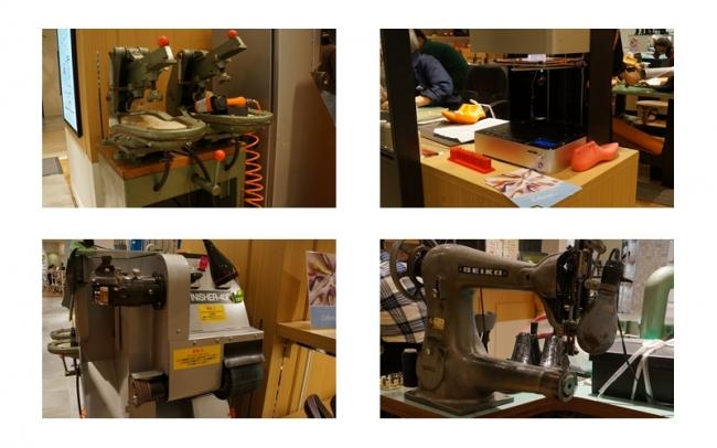 工房にある靴づくりの機器を全て持ち込み実際に靴を作ります