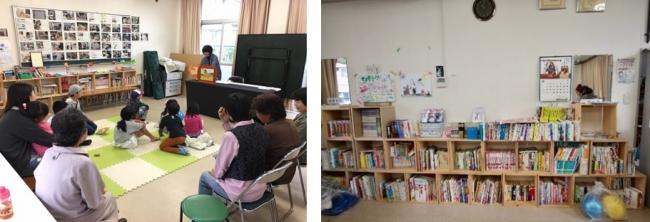 (写真左)「茶山台としょかん」での絵本読み聞かせ、(写真右)現在の本棚