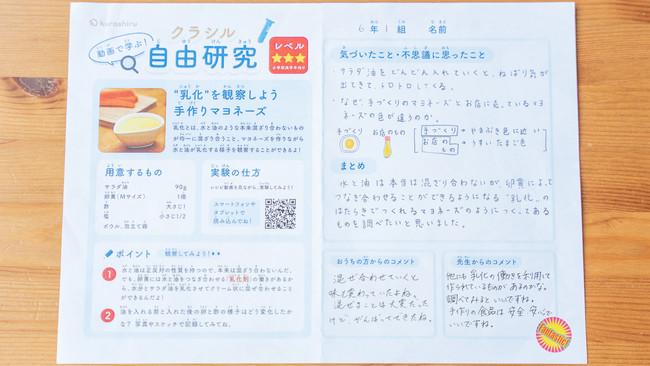 小学校6年生・香凛さんの研究プリント