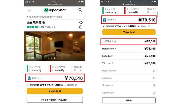 Tripadvisor(R)上の公式サイト価格表示イメージ