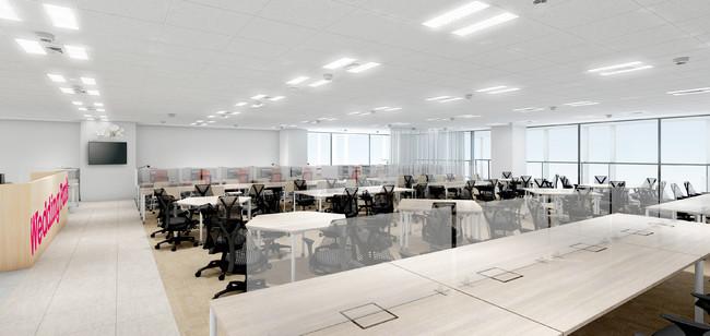 執務スペースイメージ。座席はフリーアドレス制を導入(東京本社)