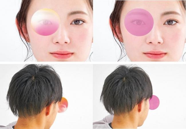 【従来レンズとの比較(左:従来品、右:新色覚補正レンズ)】
