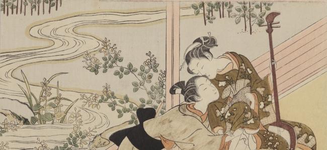 鈴木春信「縁側に三味線」(部分)明和6、7年(1769、70)頃 浦上満氏蔵