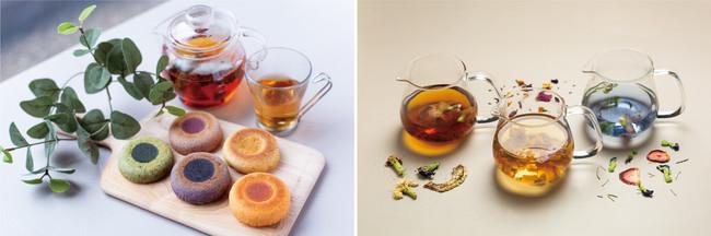 ※イメージ (左)ふくしまを味わえるきんつばドーナツ / (右)亜貴さんのエディブルフラワーティー