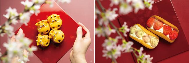 ※イメージ (左)小野寺さんの日本一有機人参を使った赤べこカステラ / (右)白井さんの白イチゴと桃薫(とうくん)を使ったいちごサンド