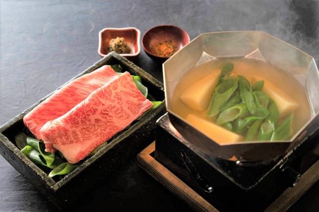 和牛リブロースと京野菜のしゃぶしゃぶ