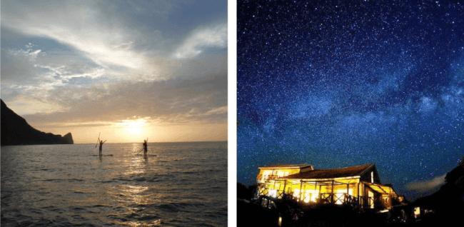 (左)SUPクルージングとビーチキャンプ1泊ツアー。 テラワークス(沖縄:本島) (右)石垣島で満点の星空観察で「キャンプ気分」を。 オリオン(沖縄:石垣島)
