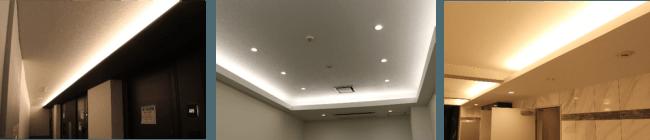 設置イメージ(左:マンションの共有廊下、中央:オフィスの応接室、右:マンションのエントランス)