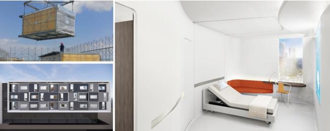 モジュラーホスピタルルーム(イメージ)_左上:建設の様子、左下:病棟外観、右:曲線を基調とした内観設計