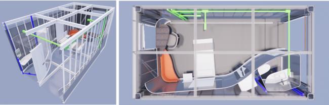 モジュラーホスピタルルームは設備配管も内蔵_青紫:トイレの設備配管、黄緑:電気配管を示す