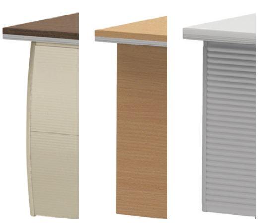 アルミ、木製、樹脂の3種類の幕板で、空間や天板に合わせた様々なコーディネートが可能。