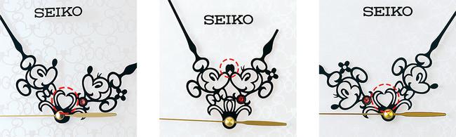 長針と短針により形作られる3種類のハート ミニーは赤いクリスタルの首飾りがキラキラ