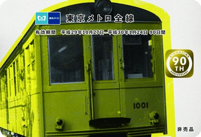 東京メトロ90日間全線パス券面(イメージ)