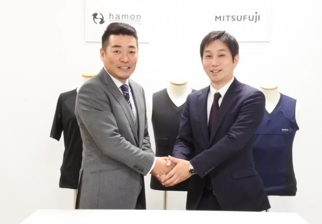 ハモンスポーツマーケティング株式会社竹村代表(左)とミツフジ株式会社三寺社長(右)