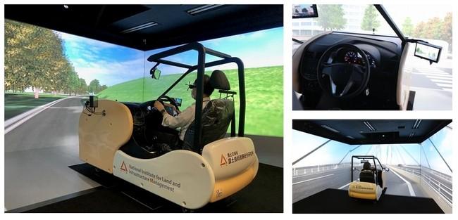 大型4面スクリーンの没入型立体視表示システムで広い視野角と高い没入感を伴う運転シミュレーションが実現。 キャビンは実際の自動車部品で構成されリアルな運転環境を再現している