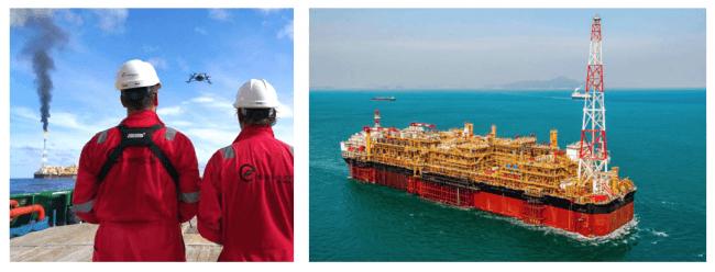 海洋掘削に使用される石油・ガス生産貯蔵積出設備(FPSO)(右図)の点検を行う作業員