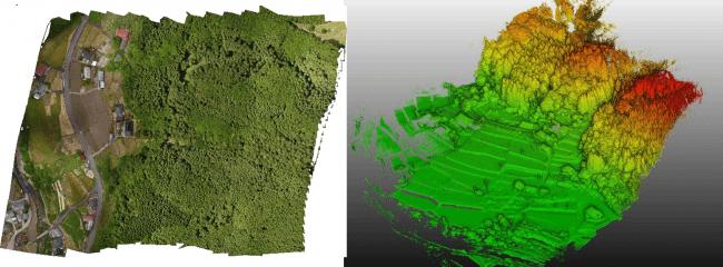 計測地全体のオルソ画像および点群取得状況