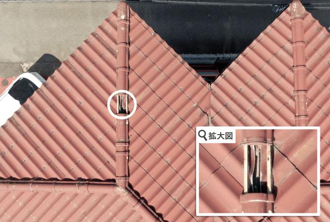 ドローンにより撮影された千葉県千葉市の戸建て住宅の屋根