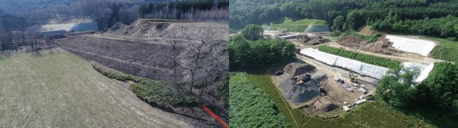 左 2018年5月着工前 右 2018年8月施工中