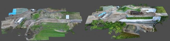 左 2018年5月着工前 右 2018年8月施工中 ( UAV写真から生成した3次元データ)