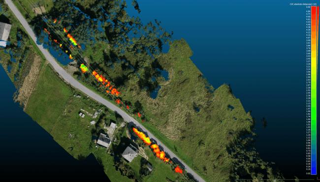 アルゴリズムにより作成された3D送電線マップ(2)