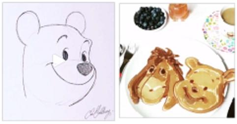 (左)プーさんの手書き映像(右)ホットケーキ作りの映像