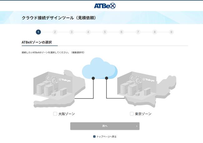 【クラウド接続構成シミュレーション画面】
