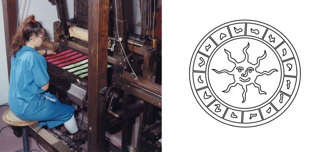 メリディアーナを手織りする木製織機(左)メリディアーナ日時計モチーフ(右)