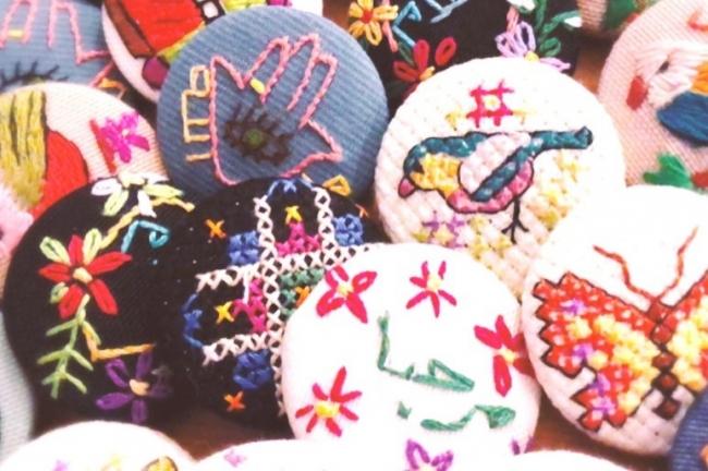 シリアの刺繍を使用したくるみボタン