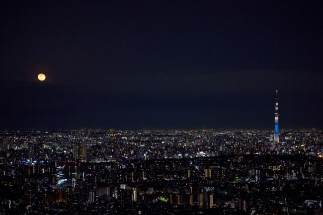 日本百名月認定 サンシャイン60展望台からの月