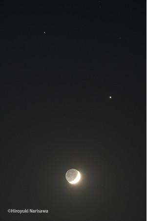 月と木星と土星が写った写真(イメージ) ※観賞会当日は満月・木星・土星が並びます
