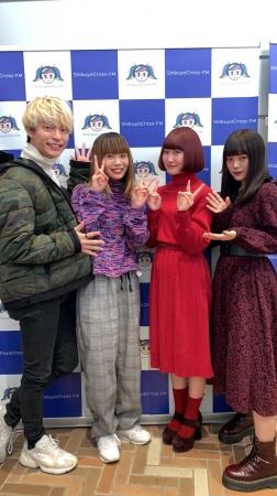 <画像左より>AKI(MC)、やすだちひろ(ゲスト)、赤澤える(ゲスト)、木村なつみ(メインパーソナリティー)