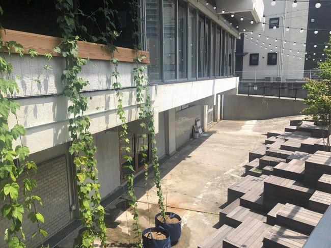 築55年の西田ビルの地下駐車場に建設中。 手前は「ハイパー縁側」のコミュニティ広場。