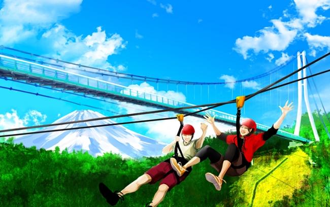 往路は吊橋の下を、復路は富士山に向かって滑り抜ける